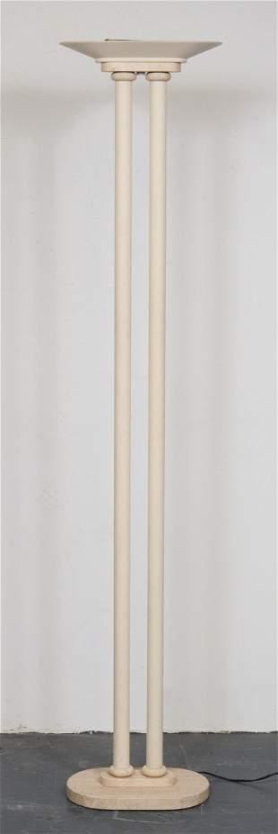 Modern White Painted and Travertine Floor Lamp