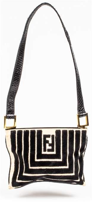 Fendi Canvas & Velvet Shoulder Bag
