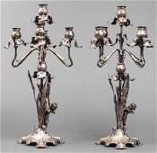 Lazarus Posen Art Nouveau Silver Candelabra, Pair