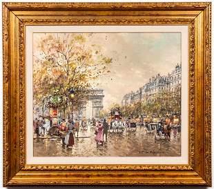 "Antoine Blanchard ""Arc de Triomphe"" Oil on Canvas"
