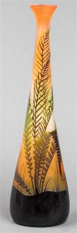 Gallé Art Nouveau Cameo Glass Tall Vase