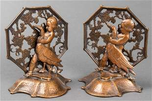 Oscar Bach Art Deco Bronze Girl & Goose Bookends