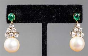 18K Emerald, Diamond & South Sea Pearl Earrings