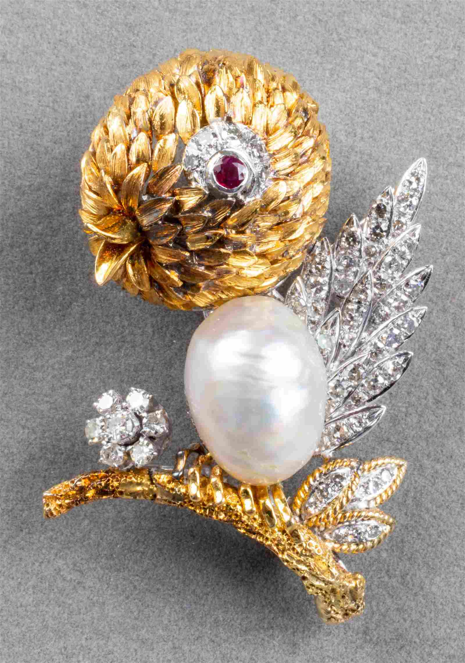 Vintage 18K Gold Diamond, Pearl & Ruby Bird Brooch
