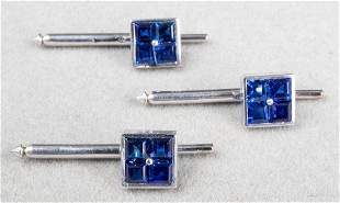 18K White Gold & Sapphire Shirt Studs, Set of 3