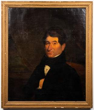 John Pope Attr Portrait of a Gentleman Oil, 19th C