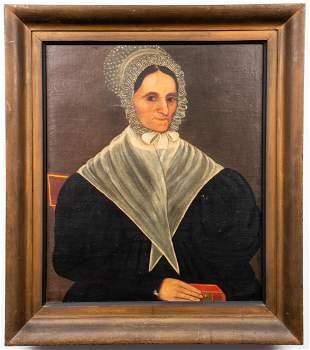 19th C. Folk Art Portrait, Manner of Ammi Phillips