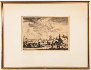 """Pieter Bout """"The Ice Skaters,"""" Antique Etching"""