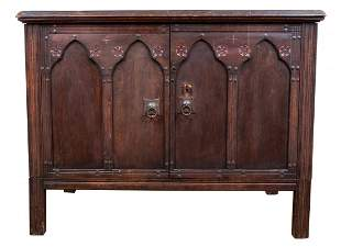 Aesthetic Movement Carved Oak Credenza / Cabinet