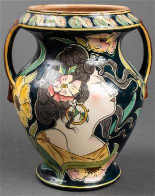 "Royal Bonn ""Old Dutch"" Art Nouveau Pottery Vase"