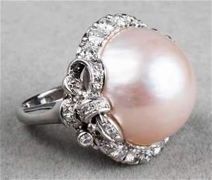 Antique Platinum, Diamond & Mabe Pearl Ring