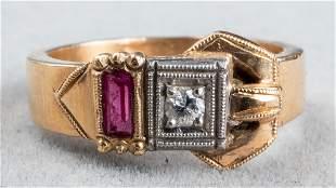 Edwardian 14K Gold, Diamond & Ruby Buckle Ring