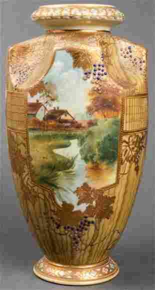 Nippon Large Hand-Painted Porcelain Vase