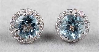 14K White Gold Aquamarine & Diamond Earrings