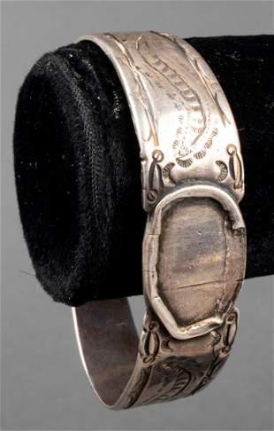Native American Navajo Silver Cuff Bangle Bracelet