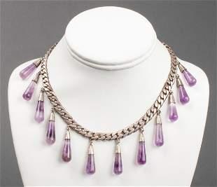 Vintage Mexican Silver Amethyst Drop Necklace