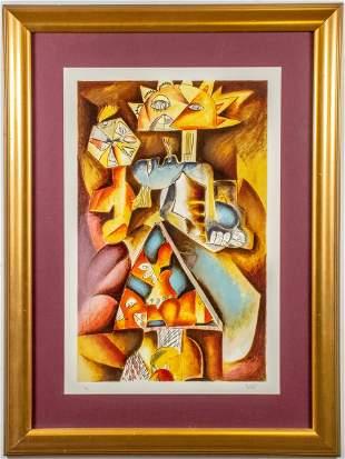 """Alexandra Nechita """"Kaleidoscope"""" Cubist Lithograph"""