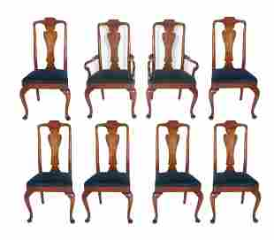 Queen Anne Style Dining Chairs, Set of 8