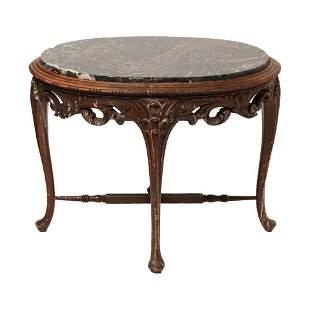 Belgian Art Nouveau Marble Top Side Table