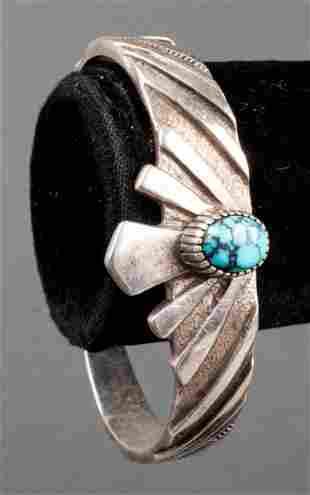 Native American Silver Turquoise Bangle Bracelet