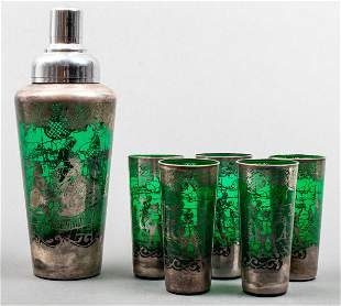 Green Glass Silver Overlay Shaker & Tumblers, 6