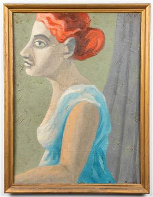 "Signed Moore ""Portrait of a Woman"" Oil on Board"
