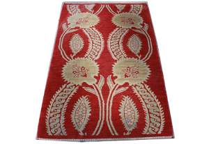 Arts & Crafts Manner Red Area Rug 3' x 4' 11""