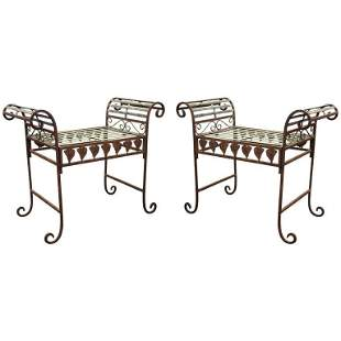 Hollywood Regency Metal Benches, Pair
