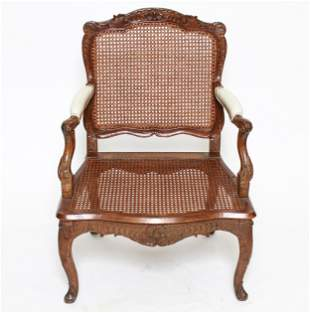 French Provincial Open Arm Chair w Cane Back