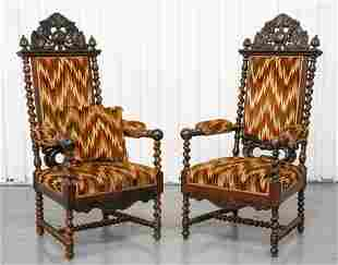 Continental Baroque Style Oak Armchairs, 2