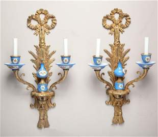 Sevres Manner Porcelain & Gilt Brass Sconces Pair