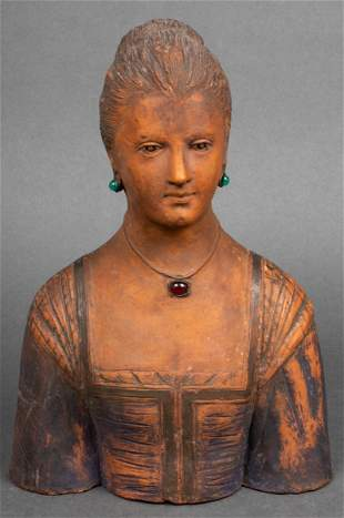 Painted & Adorned Ceramic Portrait Bust of a Woman