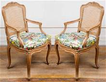 Louis XV Style Carved And Caned Armchairs Pair