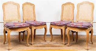 Louis XV Style Carved And Caned Side Chairs, 4