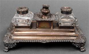 Rococo Revival Mixed Metal Inkwell And Desk Stand