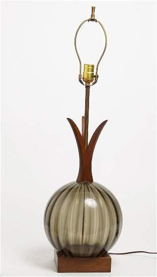 Scandinavian Modern Smokey Glass & Wood Lamp
