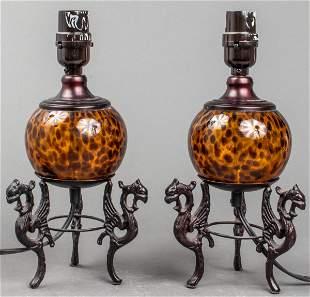 Renaissance Revival Glass Table Lamps, Pair