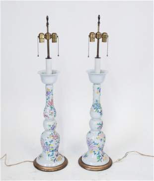 Chinese Painted Glass Candlestick Lamps, Pair