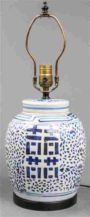 Chinese Blue and White Double Happiness Table Lamp