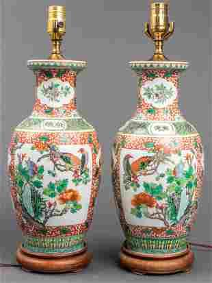Oriental Ceramic Table Lamps, Pair