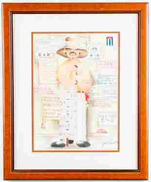 """Jose Chiu, """"Man w/Numbers,""""  Pastel on Paper"""