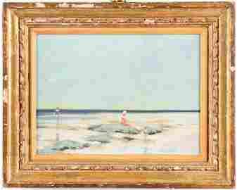 """Andre Gisson """"Children in a Seascape,"""" Oil"""