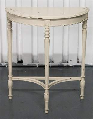 Louis XVI Style Shabby Chic Demilune Table
