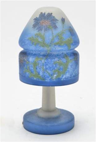 Pairpoint Reverse-Painted Glass Blue Fairy Lamp