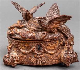 Black Forest Carved Trinket Box, Vintage