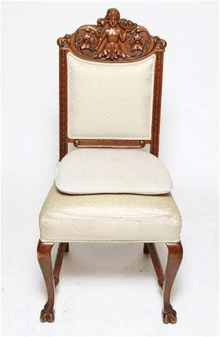 Victorian Oak Wood Side or Hall Chair