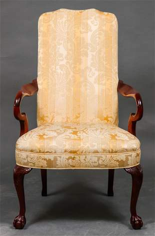 Queen Anne Style Upholstered Open Armchair