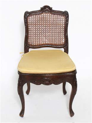 Antique Rococo Manner Carved & Caned Chair