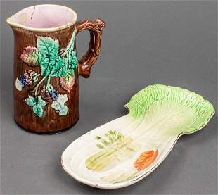 Majolica Pitcher and Serving Tray, 2 Pcs.
