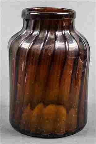 Hand-Blown Amber Glass Jar / Vase